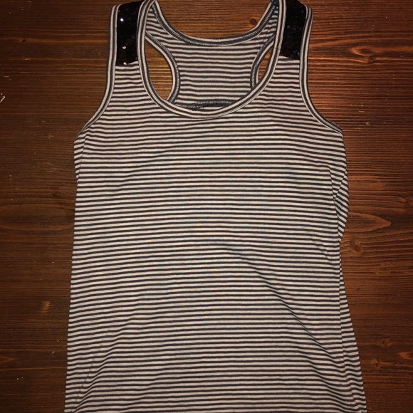 Tops - Black and white striped tank with sequins